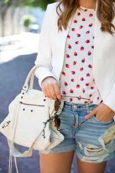 Strawberry top with white Balenciaga purse. Theory blazer. Rag & bone shorts.