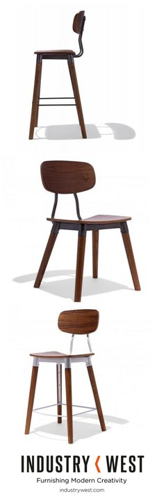 Back in stock! The Public collection is contemporary design crafted using Scandinavian mid century design language. Finely shaped wood seating surfaces conform nicely to the body and are available in several wood species. The steel frame is available in a variety of powder coated finishes as well as gunmetal.