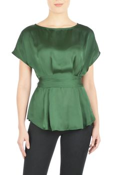 Soft pleats and dolman short sleeves enhance the feminine grace of our draped boat-neck blouse in a semi-fitted silhouette.