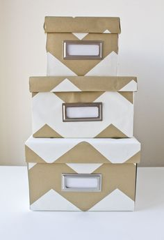 Wrapped storage boxes -- a DIY with wrapping paper and shoeboxes