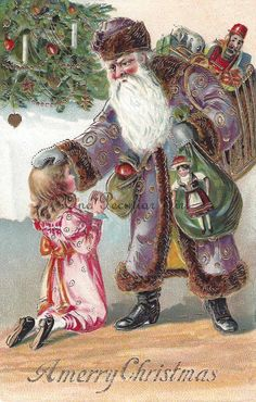 Antique Christmas postcard of Santa in Purple by OnePeculiarGirl Purple Christmas, Christmas Things, Christmas Items, Christmas Pictures, Christmas And New Year, Christmas Cards, Merry Christmas, Xmas, Christmas Artwork