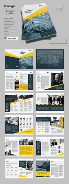 Kreatype Company Profile by Kreatype Studio on @creativemarket Company Profile Design Templates, Booklet Design, Book Design Layout, Brochure Design Layouts, Corporate Brochure Design, Company Brochure, Company Profile Presentation, Design Presentation, Presentation Folder