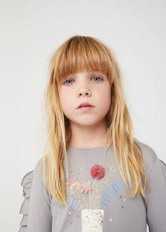 T-shirt motif en relief -  Fille   MANGO Kids France