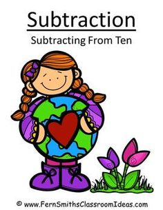 Earth Day Subtraction Center - Subtract From Ten Concept $Paid #TPT #Kids #FernSmithsClassroomIdeas