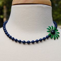 Kelly Green and Navy Blue Beaded Asymmetrical by RebeccasFinds, $48.00