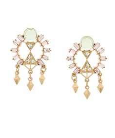 Egyptian Elegance Earrings - Light Pink, Green, and Gold from Glint & Gleam via Shop Lately