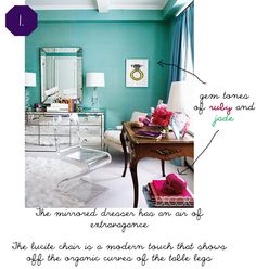 Hollywood Regency Colors | Typically you will see deep, rich hues (like say Peacock blue) and ...