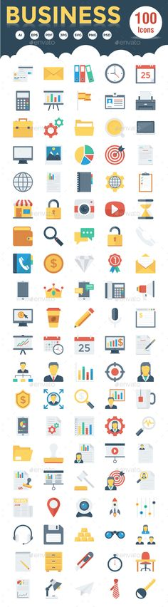 100 Business Flat Icons — Photoshop PSD #presentation #dedline • Available here → https://graphicriver.net/item/100-business-flat-icons/19161426?ref=pxcr