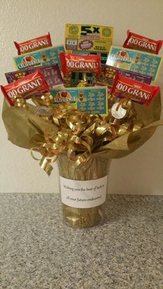 """I made this for a coworker that was leaving for a new job. She loved scratchers. This was my way to wish her """"luck"""". Gift For Coworker Leaving, Goodbye Gifts For Coworkers, Farewell Gift For Coworker, Leaving Gifts, Farewell Gifts, Goodbye Coworker, Retirement Gifts For Men, Retirement Parties, Retirement Ideas"""