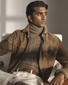With the latest Ralph Lauren PurpleLabel collection, Ralph Lauren showcases the power and elegance of tonal dressing. Featuring Jeenu Mahadevan in a buttery-soft overshirt layered with cable-knit cashmere and cream denim. Nigerian Men Fashion, Indian Men Fashion, Summer Wedding Menswear, Polo Shirt Style, Supreme Clothing, Smart Casual Menswear, Workwear Fashion, Fashion Menswear, Streetwear Fashion