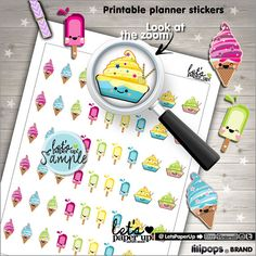 Ice Cream Stickers, Printable Planner Stickers, Popsicle Stickers, Cute Stickers, Erin Condren, Kawaii Stickers, Planner Accessories, DIY