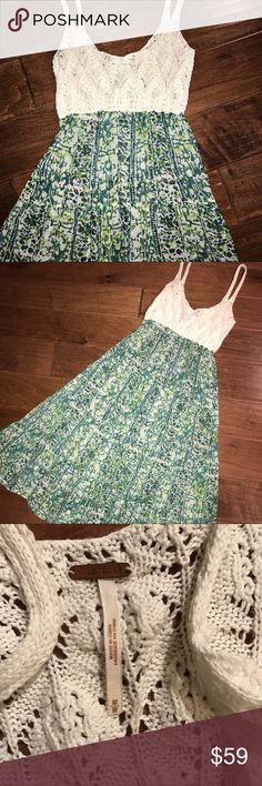 HP🌴Free People Crochet & Tissue Maxi Dress Free People maxi dress in great condition. Empire waist, spaghetti strap cotton crochet top, and linen crinkle tissue skirt. Crochet bust is not lined, will need a bandeau or bralette. Crochet bust measured unstretched but is very stretchy, will fit larger than measured. Free People Dresses Maxi