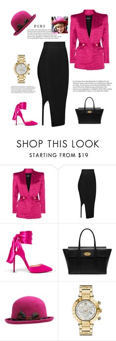 """""""Fuscia"""" by fini-i ❤ liked on Polyvore featuring Balmain, Christian Louboutin, Mulberry and Versace"""