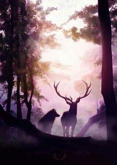 Spirit Animals Guides - Wolf and Deer Deer Wallpaper, Scenery Wallpaper, Majestic Animals, Animals Beautiful, Fantasy Landscape, Landscape Art, Fantasy Kunst, Fantasy Art, Deer Art