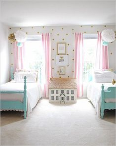 Girls room decor ideas bright, makeover, aqua, teal, lighting, bohemian, princess, pink, wallpaper, purple, design, desk, for two, gold, blue and cool