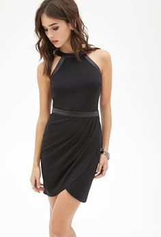 Faux Leather Trimmed Dress | FOREVER21 - 2000099453 22.90