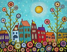 Houses Blooms And A Moon Painting  - Houses Blooms And A Moon Fine Art Print