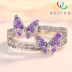 Beiver Fashion Purple Butterfly Rings for Women Butterfly Ring, Purple Butterfly, Butterfly Shape, Butterfly Jewelry, Cute Jewelry, Jewelry Accessories, Women Jewelry, Purple Rings, Engagement Jewelry