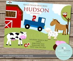 Items similar to FARM Birthday INVITATION with Little Blue Truck, Horse, Cow, Sheep, Owl and Pig. on Etsy
