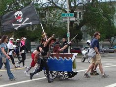 Pirate Ship wheelchair costume. Idea for Historical costumes costume.