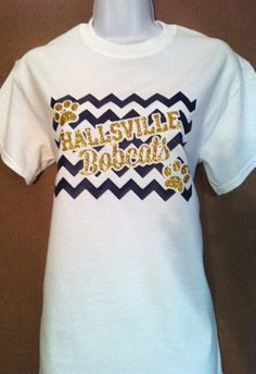 Chevron School Spirit T-Shirt with Your Team and Mascot 2 color with GLITTER wording.  Popular for Football, Basketball, Baseball and more by designstudiosigns on Etsy https://www.etsy.com/listing/164973811/chevron-school-spirit-t-shirt-with-your