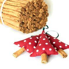 Rustic Christmas Tree Decoration Cinnamon and Red Polka Dot set of 3