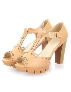 PU Leather T-Strap Cut Out Chunky Heel Women's Dress Sandals