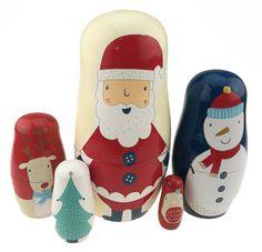 Novelty & Gag Toys Nesting Dolls Veewon Christmas Nesting Dolls Handmade Wooden Cute Matryoshka Russian Doll Santa Claus Snowman Christmas Gift 6-6pcs