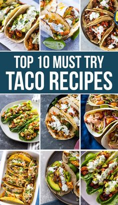 These are the BEST most FLAVORFUL taco recipes you will find. From chicken to shrimp or steak, and even cauliflower, these tasty tacos are loaded with spicy Pan Grilled Chicken, Grilled Chicken Tacos, Easy Baked Chicken, Healthy Tacos, Quick Healthy Meals, Healthy Recipes, Easy Recipes, Fancy Dinner Recipes, Dinner Ideas