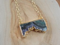 Amethyst Slice Pendant Necklace on Gold Fill by MalieCreations, $42.00