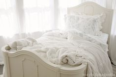 Love our bed like this.  Hope we can refinish it.
