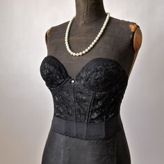 60's Bustier Madonna Mad Men Black Nylon and  Lace Low Back Merry Widow size 34B Sears on Etsy, Sold