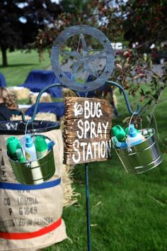 Bug Spray Station - a must for outdoor weddings!