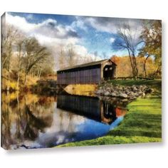 ArtWall Kevin Calkins Covered Bridge Reflections Gallery-Wrapped Canvas, Size: 18 x 24, Blue