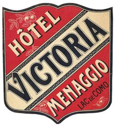 ITALY - Lake Como, Menaggio Victoria Hotel luggage label #Vintage #Travel
