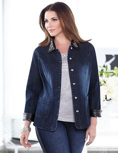 Our buttonfront, denim jacket is embellished with rhinestone buttons and an elegant, removable, faux-leather collar adorned with flourishing rhinestones. Princess seams create a figure-flattering fit that you are sure to love. Front pockets. Catherines jackets are styled exclusively for the plus size woman. catherines.com