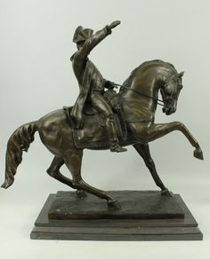 Statue Sculpture Horse Napoleon French Style Bronze Hot Cast Signed Figurine