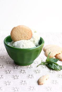 Sweet, herbal, basil ice cream with a lemon cookie wedge.