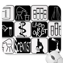 LABORATORY SCIENTIST SYMBOLS AND TOOLS MOUSE PAD by laboratory