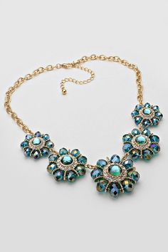 Crystal Andrea Necklace in Teal Vitrail