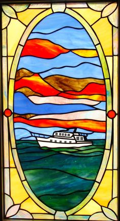 Boat on Water Stained Glass