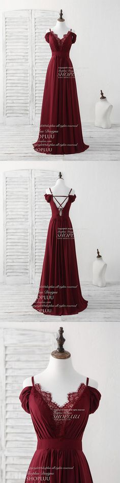 Burgundy lace chiffon long prom dress burgundy bridesmaid dress