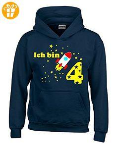 Ich bin 4 Jahre ! - Kinder Geburtstag RAKETE Sweatshirt mit Kapuze HOODIE jungs Birthday navy, Gr.104cm - T-Shirts mit Spruch | Lustige und coole T-Shirts | Funny T-Shirts (*Partner-Link)