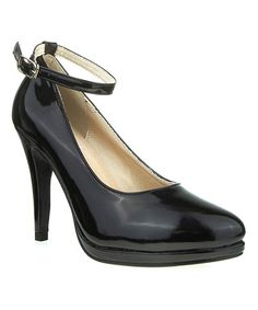 Take a look at this Black Patent Elena Ankle-Strap Pump by Ssh-oes on #zulily today!