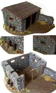 me ~ sentier de montagne Miniature Crafts, Miniature Houses, Hirst Arts, Warhammer Terrain, Mosaic Pots, Rural House, 3d Modelle, Medieval Houses, Wargaming Terrain