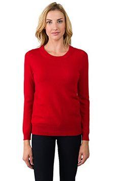 6c01a01babb JENNIE LIU Women s 100% Cashmere Long Sleeve Crew Neck Sweater (M