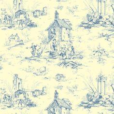 Toile de Jouy La Fête coloris bleu. Au milieu de maisons villageoises, de fermes et de ruines, la vie des hommes et des animaux est rythmée par l'alternance du travail aux champs (moissons, pique-nique, pêche) et de la fête populaire où l'on boit, fume, joue de la musique, danse et chante.