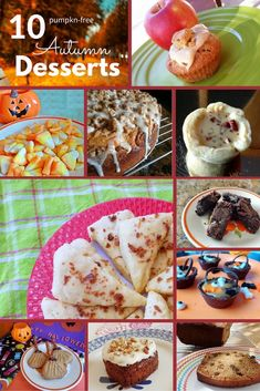 10 Pumpkin Free Autumn Desserts. Cookies, cakes and candies flavored with apples, pecans, maple, honey and chocolate. Halloween desserts. Fall Desserts.