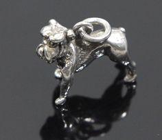 Bull Dog Charm Sterling Silver
