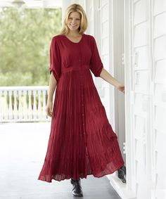 A comfortable dress is more special in rich burgundy #plussize #womanwithin